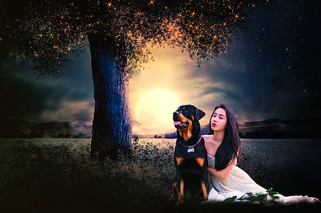 woman with black and mahogany Rottweiler painting