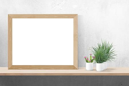 rectangular white brown photo frame