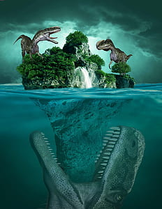 dinosaurs on island illustration