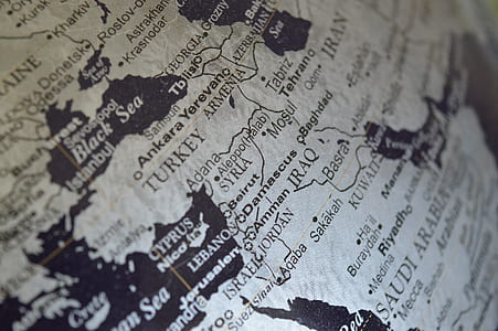 syria, middle east, map, globe, iraq, continent