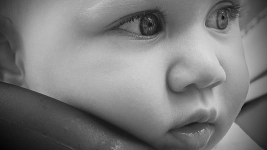grayscale photography of baby's face