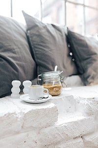 Morning coffee with a jar of brown sugar
