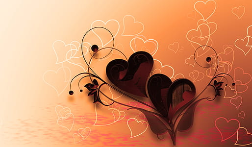 black and orange heart wall decal