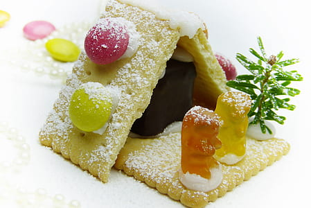 sugar covered biscuits and jelly gum