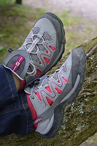 Person Wearing Gray and Pink Skechers Running Shoes