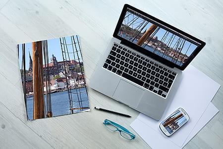 MacBook Pro on gray surface