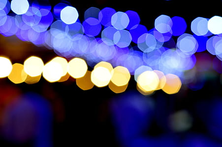 blue and yellow bokeh light photography