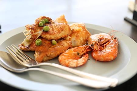 cooked shrimp on white ceramic plate