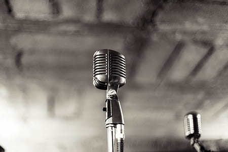 two silver condenser microphone