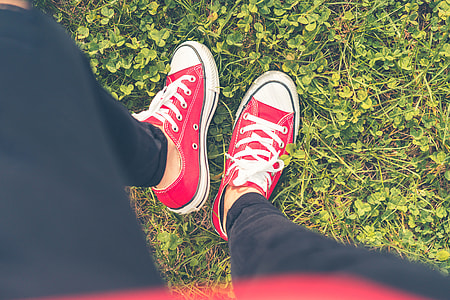 Girl with Red Shoes in Grass FPV #2