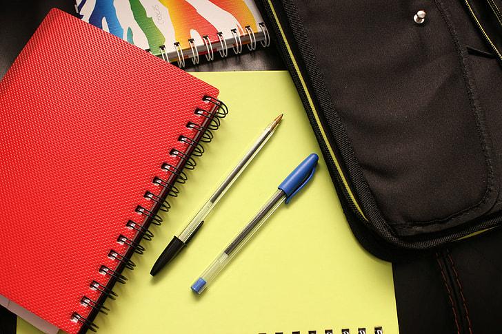 School books and binders