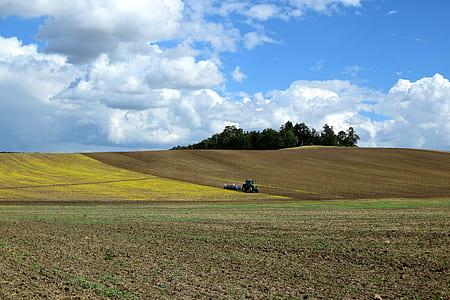 green tractor on green fields