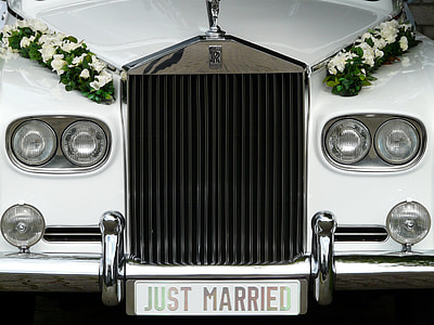 white wedding car