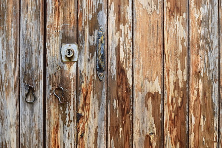 brown wooden board gates