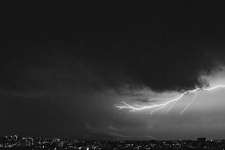 grayscale photography lightning strike