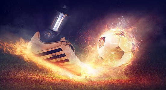 unpaired white Adidas shoe kicking soccer ball