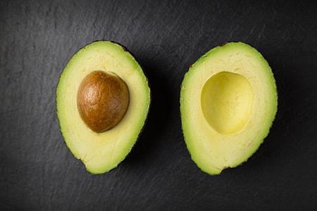 Overhead shot of fresh avocado fruit