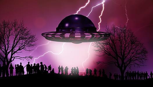 alien spaceship above people