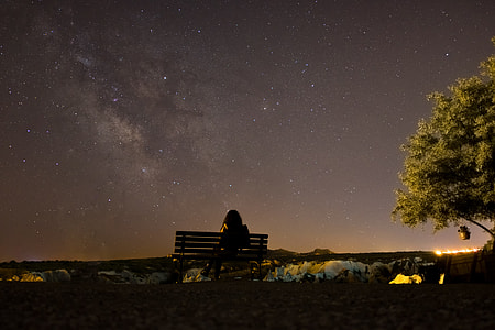 silhouette of a person sitting in the bench watching night sky