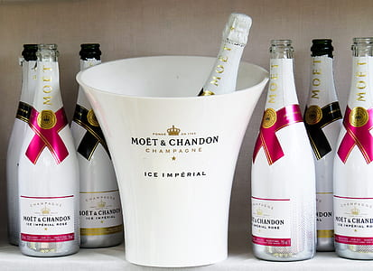 white Moet & Chandon champagne bottles