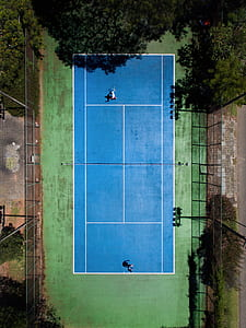 aerial photography of tennis coart
