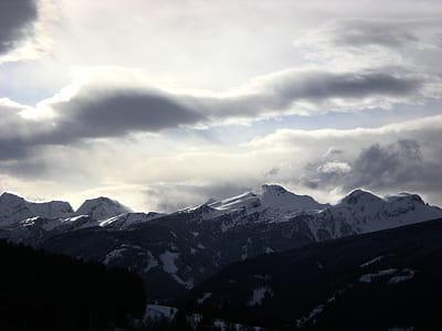 mountain, cliff, rock, snow, peak, summit