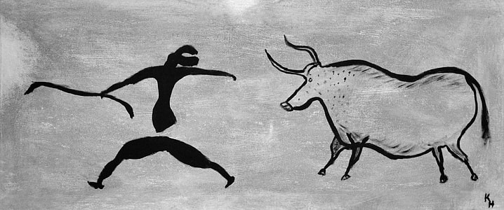 bull fighter grayscale painting