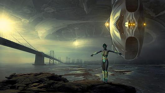 woman in green one-piece suit standing on rock beside body of water game digital wallpaper