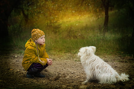 girl in yellow jacket siting front of medium-coated white dog at daytime