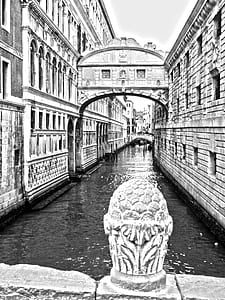 grayscale photo of Venice Canal