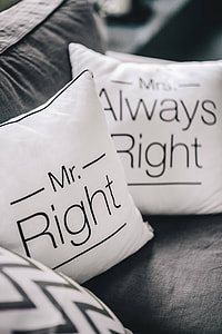 Mr Right and Mrs Always Right Pillow
