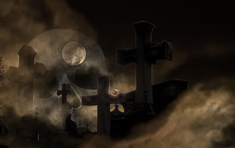 graveyard under full moon