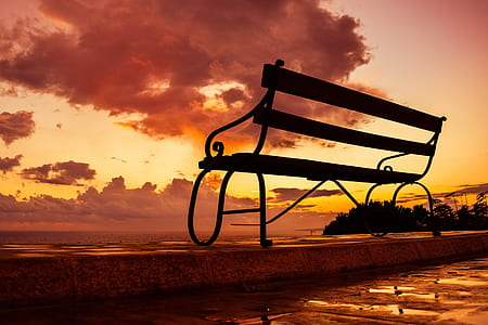 silhouette photo of bench during golden hour