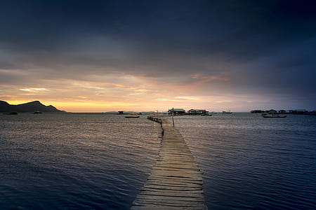 brown wooden dock surrounded with body of water