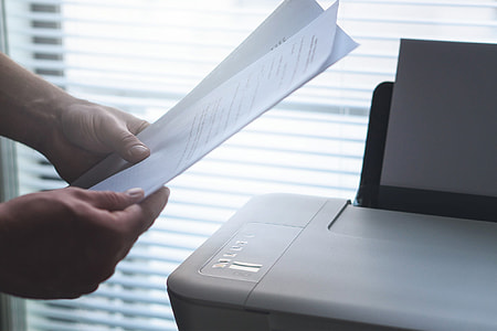 Paper documents in office