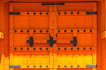 orange and yellow wooden door