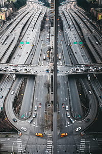 cars on overpass and road