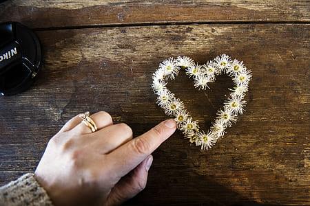 White Flower Forming Heart
