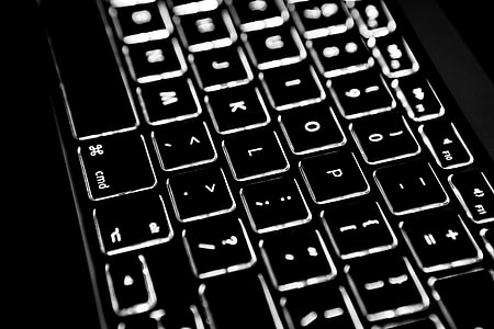 Close up shot of an laptopbacklit keyboard, image captured with a Canon 5D