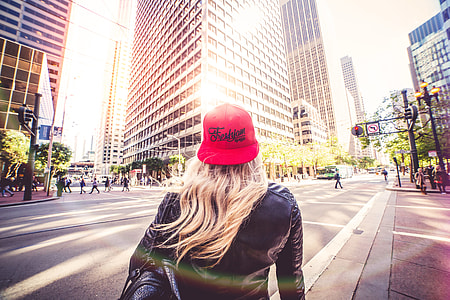 Blonde Woman Walking Alone On San Francisco Streets