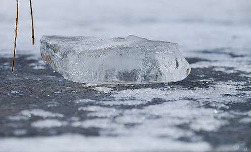 greyscale photography of ice