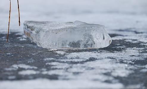 greyscale photography of ice
