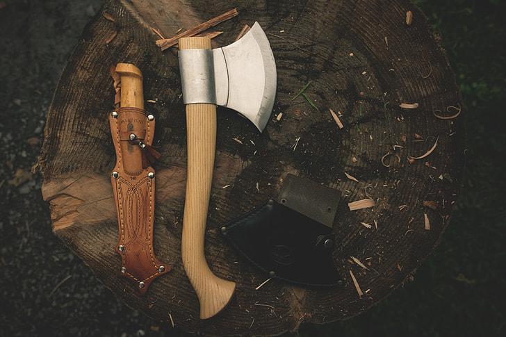 brown handle hatchet and sheath
