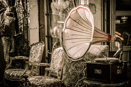black and white gramophone on table