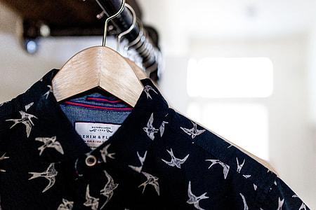 black and white bird print collared shirt