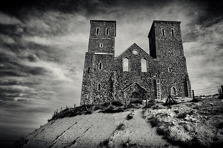 This image was taken at Reculver in Kent, England, a pair of old towers sit on the cold winter English coast