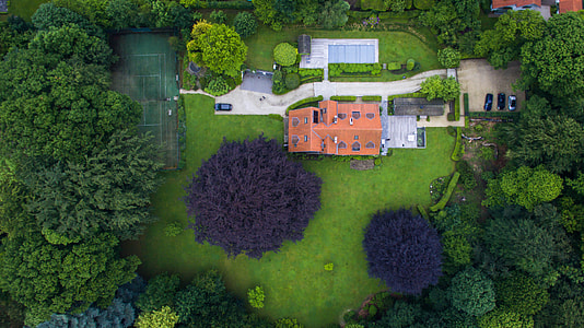aerial photo of mansion