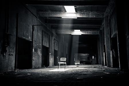 gray metal chair