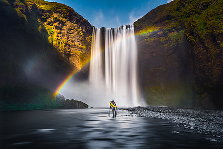 Waterfalls with rainbow in Iceland