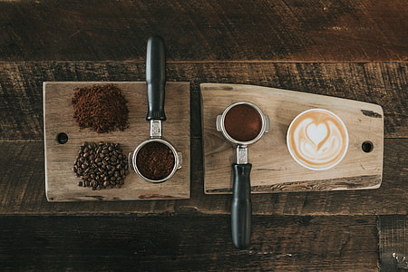 coffee beans on brown wooden block